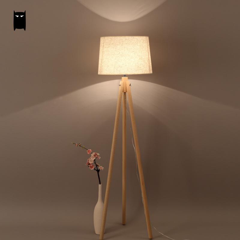 Us 298 0 3 Legs Wood Fabric Shade Floor Lamp Fixture Nordic Scandinavian Art Korean Night Stand Light Luminaria Designer Living Bed Room In Floor