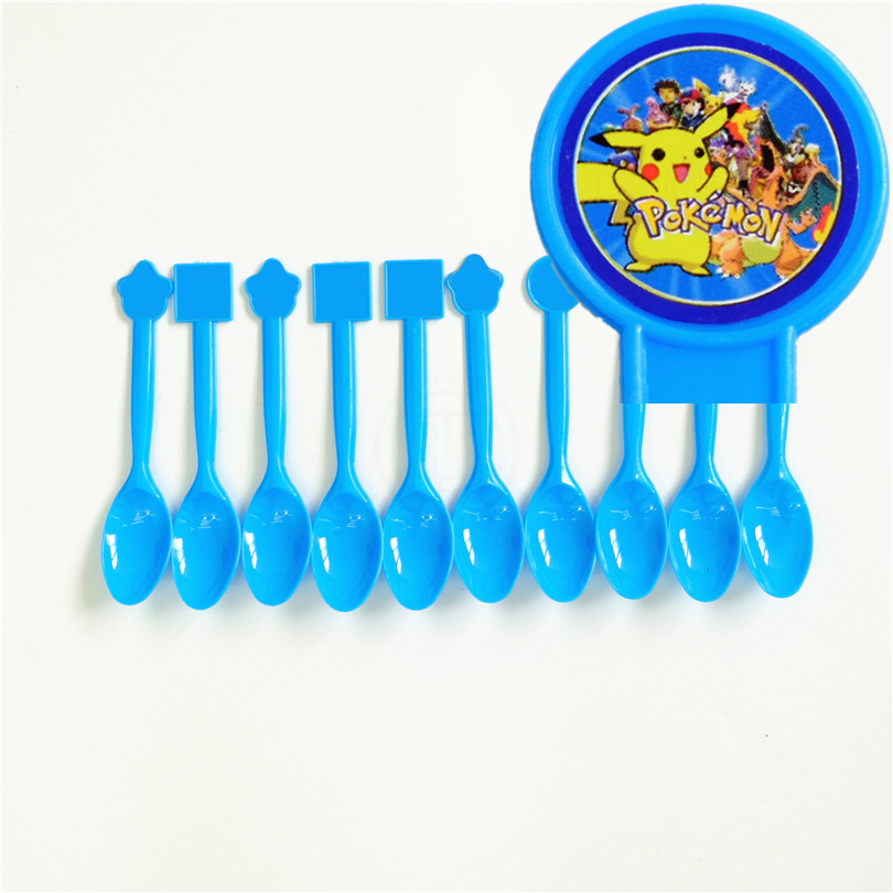 10pcs/lot Disposable Spoon Pokemon Go Pikachu Kids Birthday party supply event party supplies party decoration set