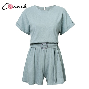 Conmoto Solid Casual 2019 Summer Women Playsuits Romper Beach Belt Tie Loose Female High Fashion Cotton Playsuit 5