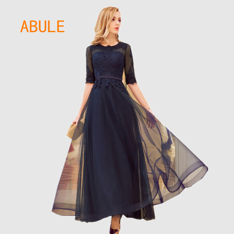 abule High-quality bule long   Evening     Dresses   lace up aline sheer illusion Prom Party   Dress   Elegant lace Robe De Soiree Longue