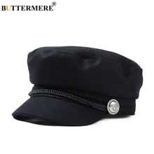 BUTTERMERE Gatsby Hat Female Black Wool Baker Boy Cap Flat Women Elegant Ladies French Painter Cap Spring Classic Newsboy Caps