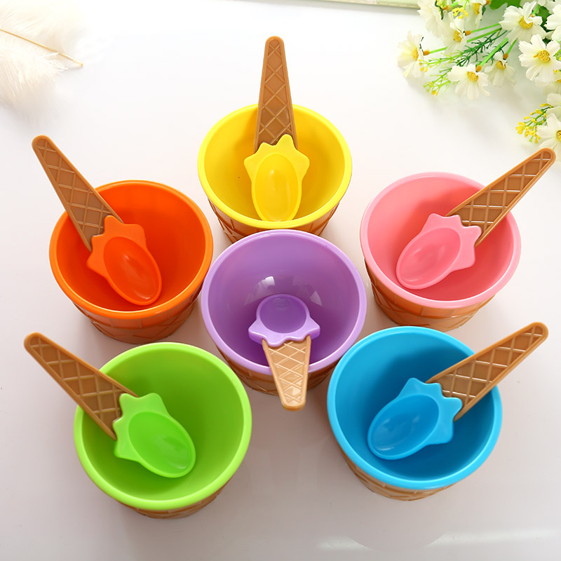 Ice Cream Bowls Cup Couples With Spoon Gifts Dessert Set Sweet Plastic