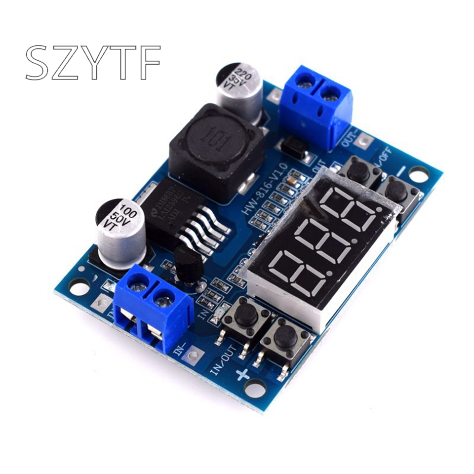 DC-DC adjustable step-down power supply module LM2596 voltage regulator with voltmeter display digital display 3.3V 5V 12V image
