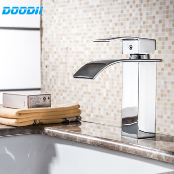 DOODII Wholesale And Retail Chrome Finished Waterfall Bathroom Faucet Bathroom Basin Mixer Tap with Hot and Cold Water 2014 wholesale and retail geowoodstock xii peace and friendship pathtag geocoin alternative coin hl50216