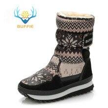 Botas de invierno para mujer de bujie, botas para nieve de color gris, piel de felpa cálida, tallas grandes, piel de cuero vacuno, Envío Gratis