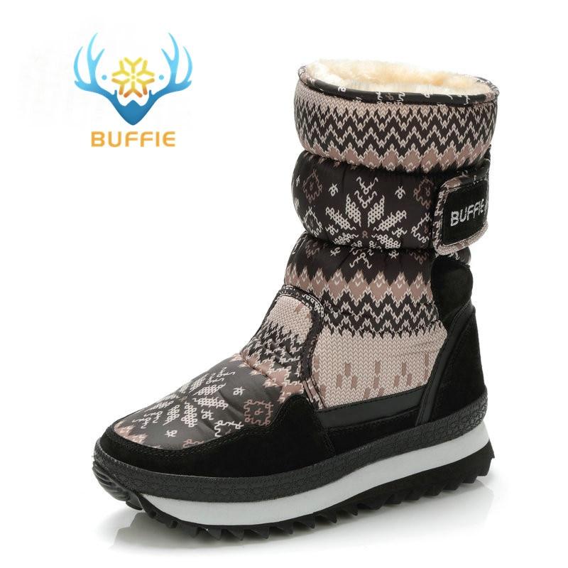 pretty nice 221b1 54df5 US $27.29 30% OFF Buffie Winter Frauen stiefel grau farbe schnee boot warm  plüsch pelz große volle größe kuh wildleder leder bindung Schuhe freies ...