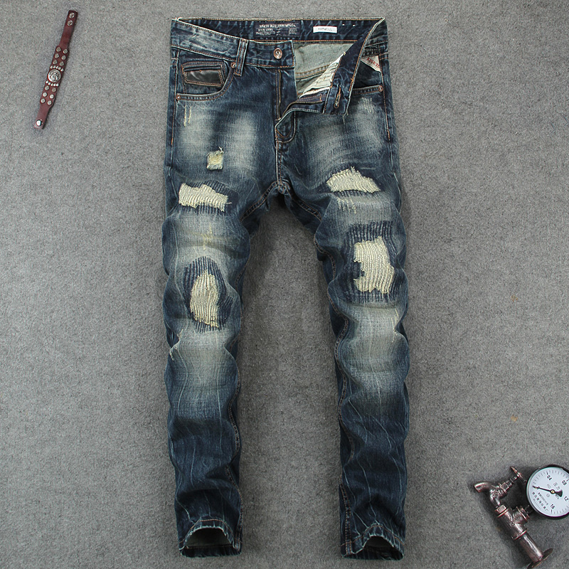 Destroyed Men`s Jeans Slim Fit Denim Dark Pants Uomo High Quality Designer Brand Clothing Punk Jeans Patchwork Men RL620 classic mid stripe men s buttons jeans ripped slim fit denim pants male high quality vintage brand clothing moto jeans men rl617