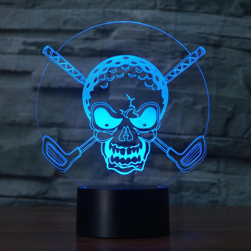 7 Colors Gradients Change Lighting Golf Ball Skull Night Light Creative Home Decor 3D Led Desk Table Lamp Bedroom Bedside Gifts