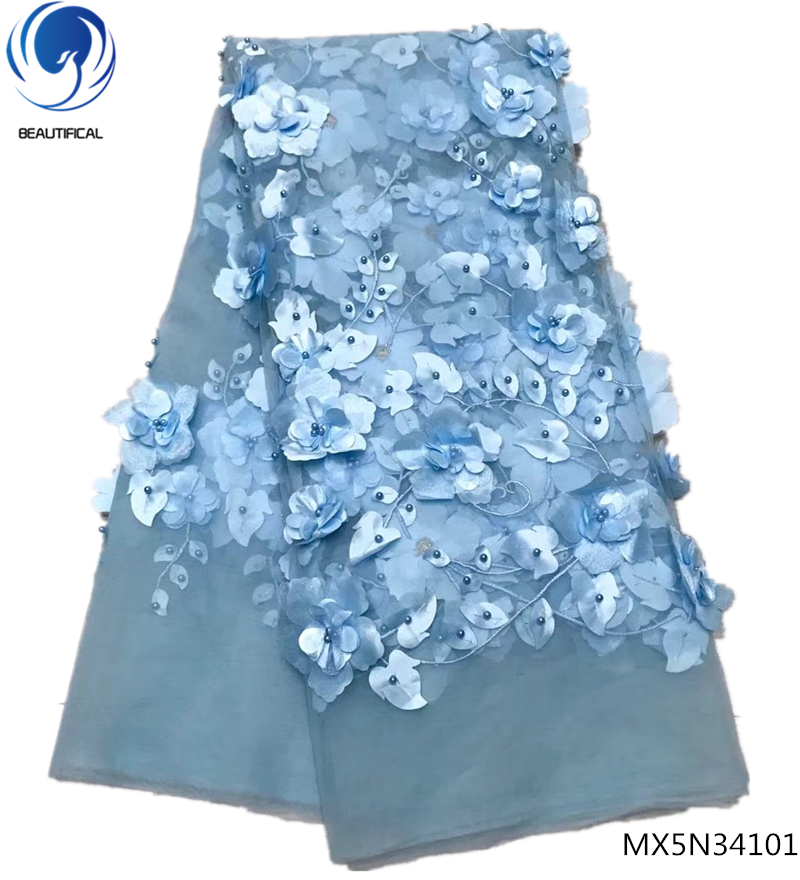 Beautifical nigeria lace flower 3d lace applique 3d flower fabric blue tulle lace fabric 5yards/piece for woman clothes MX5N341Beautifical nigeria lace flower 3d lace applique 3d flower fabric blue tulle lace fabric 5yards/piece for woman clothes MX5N341