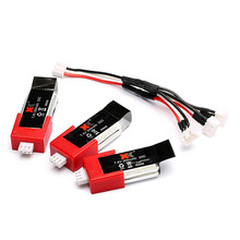 3Pcs XK K120 RC Helicopter Parts Batteries With Charging Cable