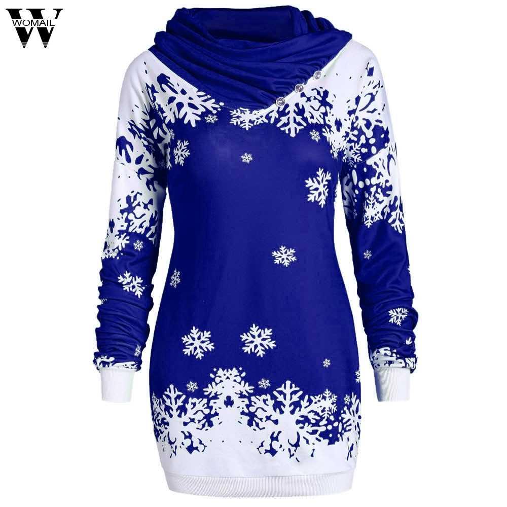 Sudadera Mujer Feliz Navidad copo de nieve impreso Tops capucha cuello sudadera invierno mujeres moda Casual Tops nov8