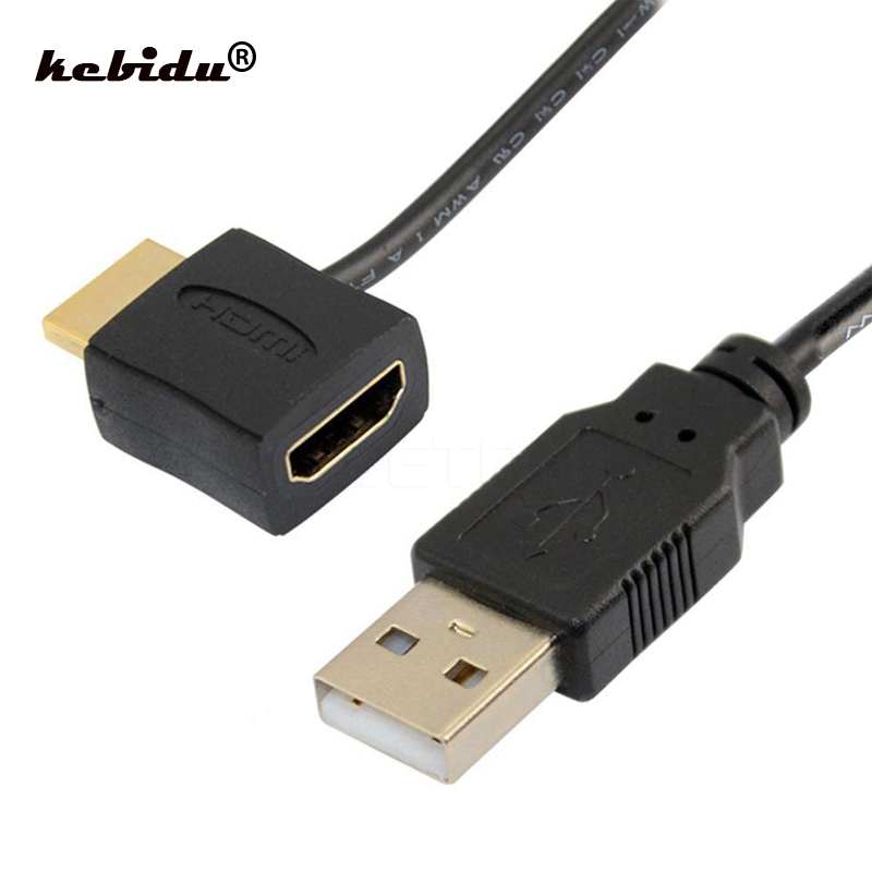 Kebidu wysokiej jakości hdmi męski na żeński adapter hdmi złącze konwertera z 50cm USB 2.0 ładowarka kabel zasilający