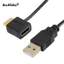 Kebidu connettore convertitore adattatore HDMI maschio-femmina compatibile HDMI di alta qualità con cavo di alimentazione per caricabatterie USB 2.0 da 50cm