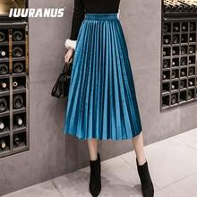 IUURANUS 2019 Autumn Winter Velvet Skirt High Waisted Skinny Large Swing Long Pleated Skirts Metallic 18 Colors Plus Size 3XL