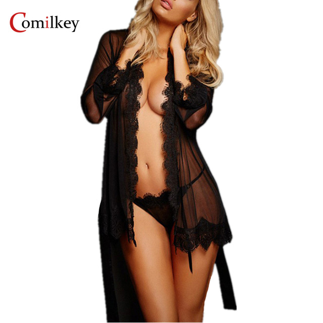 2018 Sexy Lingerie Women Dress Underwear female Lace Coat Costume Set Erotic Uniform Lenceria Sexy Nuisette Babydoll