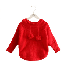 New 2016 Girls Sweaters Children's Hooded Pullover Sweater Batwing Sleeve Pullover Baby Girls Autumn&Winter Kids Clothes MY25