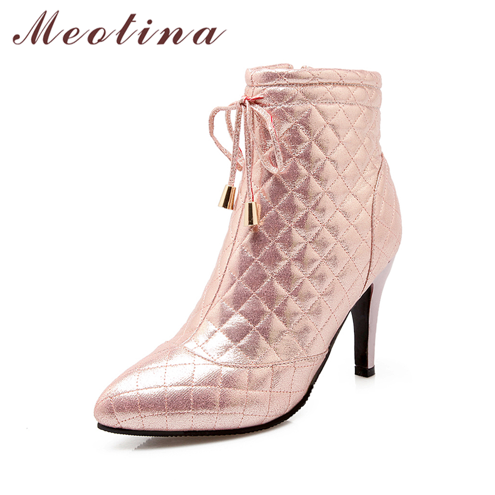 Meotina Women Ankle Boots Winter High Heel Boots Bow Zip Shoes Autumn Bow Pointed Toe Handmade Shoes Pink Sliver Gold Size 42 43 meotina genuine leather women ankle boots winter block high heel boots leather boots pointed toe female autumn shoes big size 42
