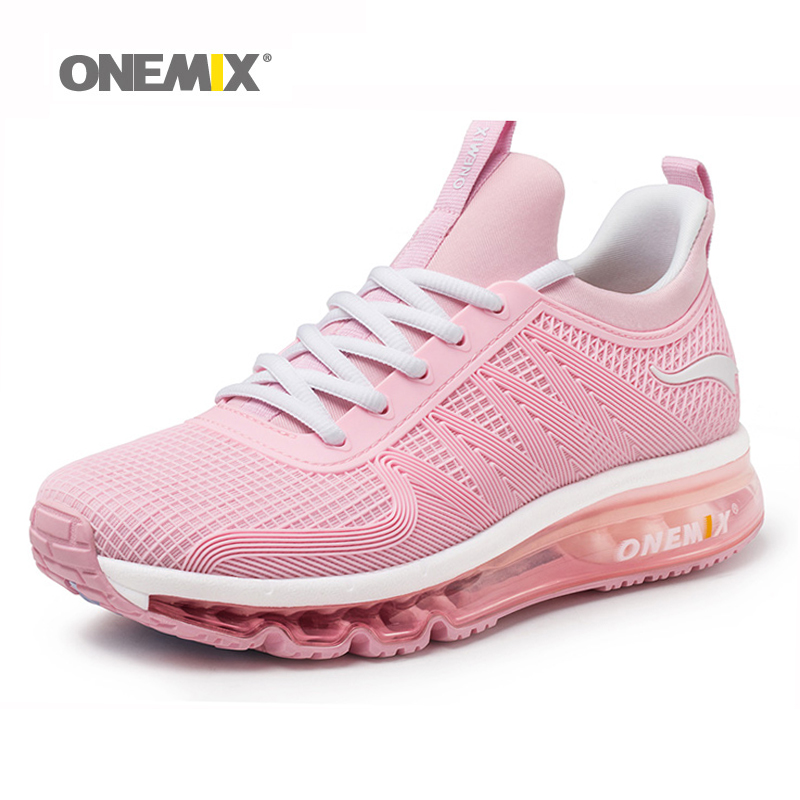 2018 Onemix Women Running Sneakers Air Cushion Shock Absorption For Lady Sport Run Fitness Adult Walking Pink Outdoor Sport Shoe