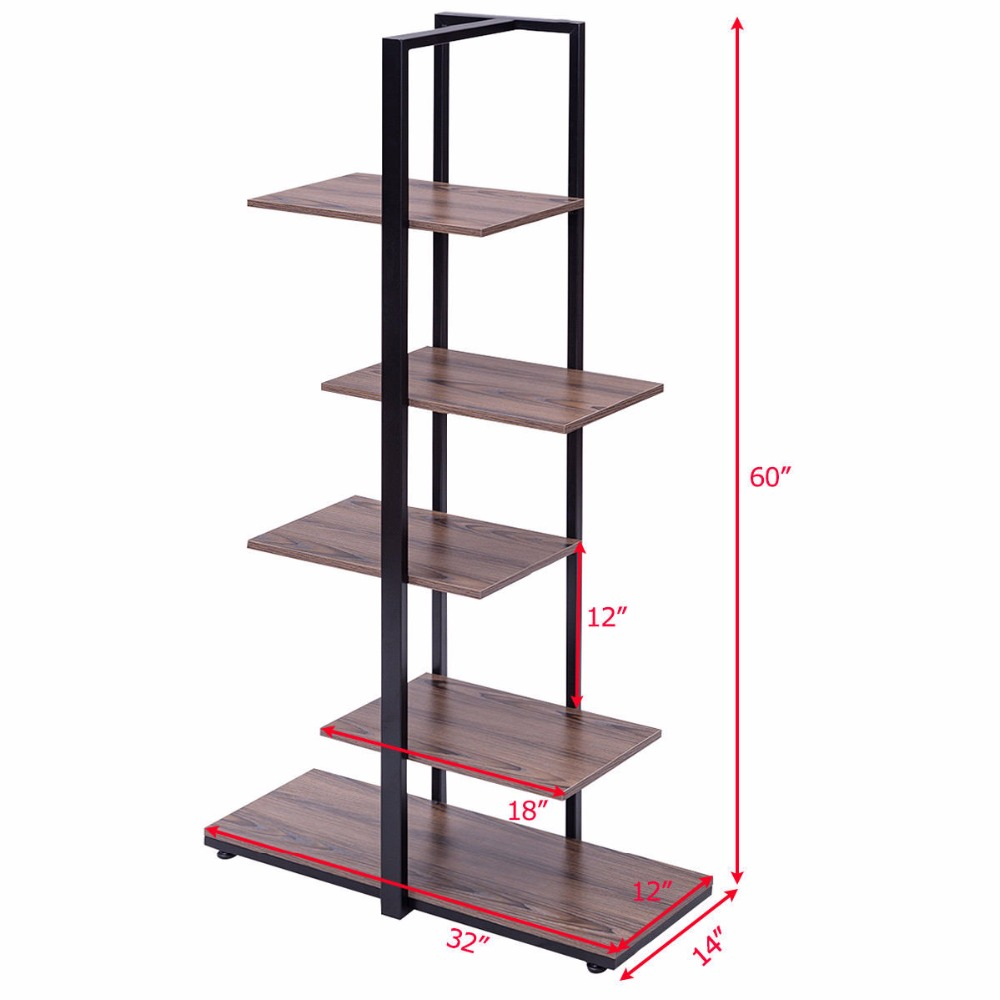 Goplus 5 Tiers Bookcase 60 Modern Open Concept Display Etagere Living Room Shelf Bookshelf Storage Furniture Hw56037