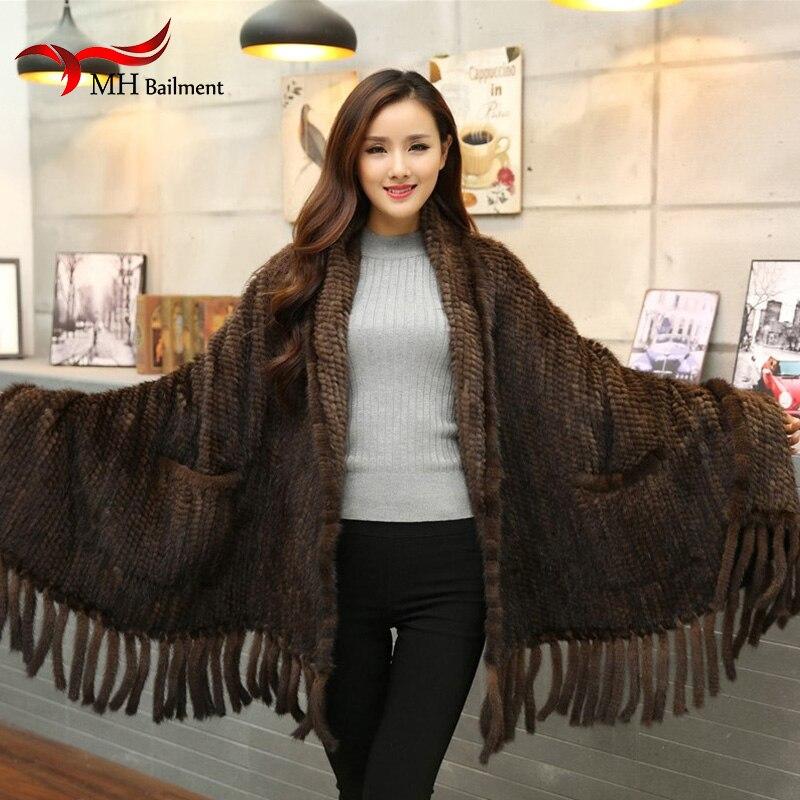 Femmes fourrure Poncho hiver noir/marron tricot naturel vison fourrure écharpes enveloppes réel vison fourrure châles pour femmes vison fourrure châle D9