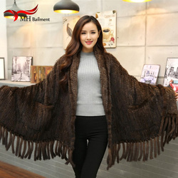 Women Fur Poncho Winter Black/Brown Knit Natural Mink Fur Scarves Wraps Real Mink Fur Shawls for Women Mink Fur Shawl D9