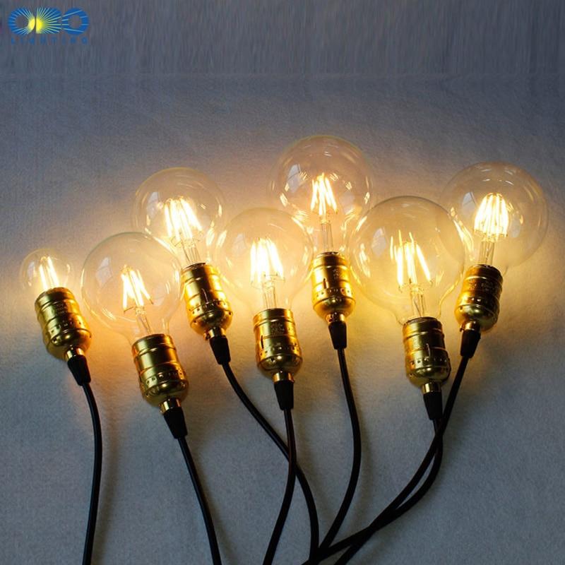 Купить с кэшбэком Edison LED Bulbs G80/G95/G125 E27 Lamp Holder 110-240V Warm White Vintage Decoration Shop Energy Saving Bulb Free Shipping