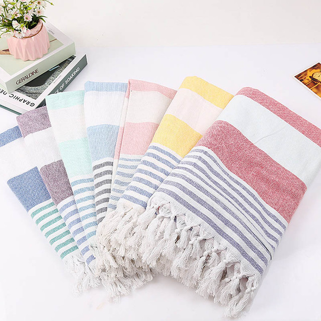 Striped Cotton Turkish Bath Towel With Tassels Travel Camping Bath