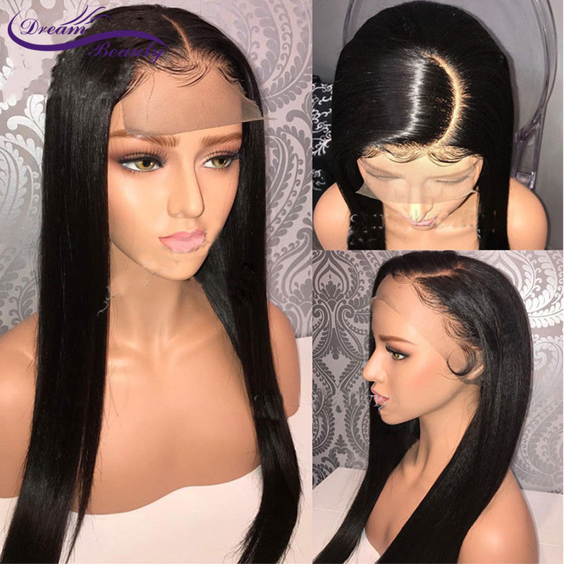 Dream Beauty Straight Lace Front Human Hair Wigs With Baby Hair Pre Plucked 13x6 middle part Lace Front Wig Brazilian Remy Hair
