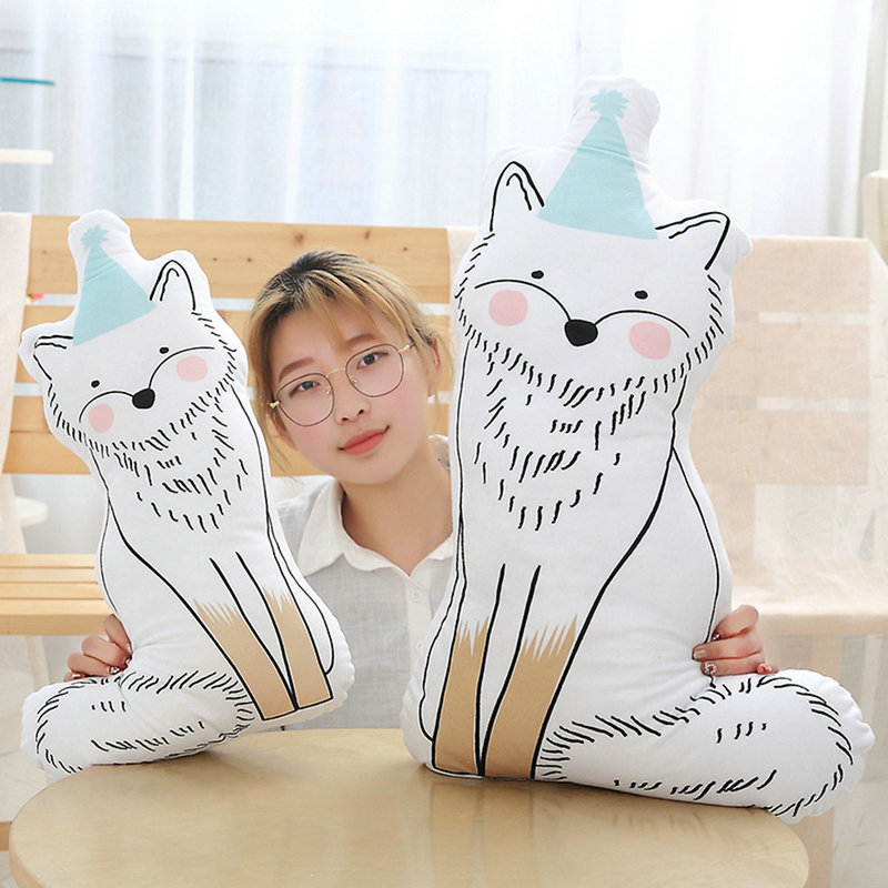 Cute 1pc 50/85cm Creative Animals Plush Pillow Cushion Freehand Sketching Staffed Cat Fox Squirrel Toys Sofa Bedroom Decor