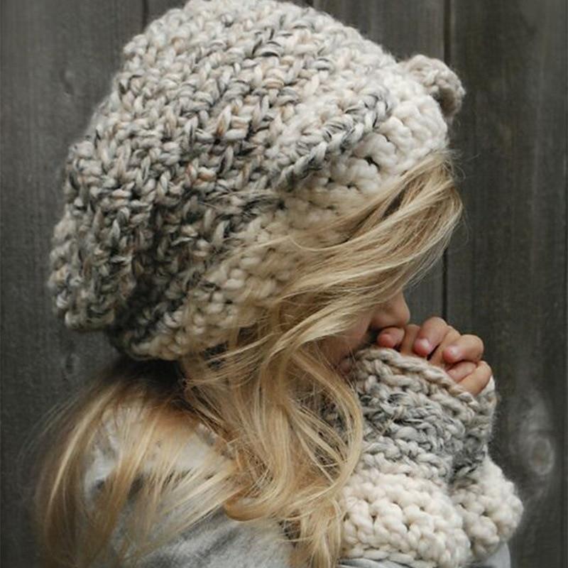 38545de69193a Handmade Knitted Cute Baby Girl Boy Winter Hat Cat Ears Lovely Cartoon  Design Baby Hat Crochet Pattern Hat-in Hats   Caps from Mother   Kids on ...