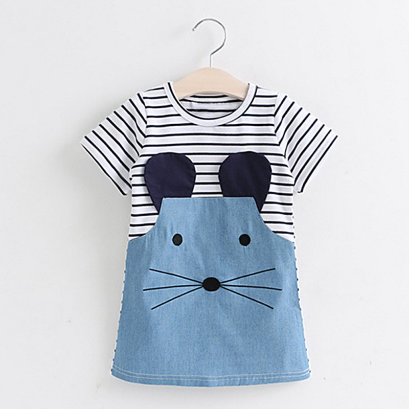 Summer Dresses For Baby G Kids Clothes Princess Striped Dress Animal Applique Children Party Dress