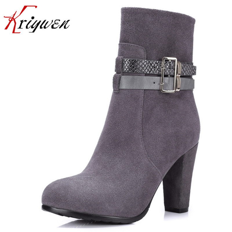 ФОТО Small size 33 41 Rubber soles women Ankle Boots Solid Color black gray apricot high heels party Shoes for female double buckle