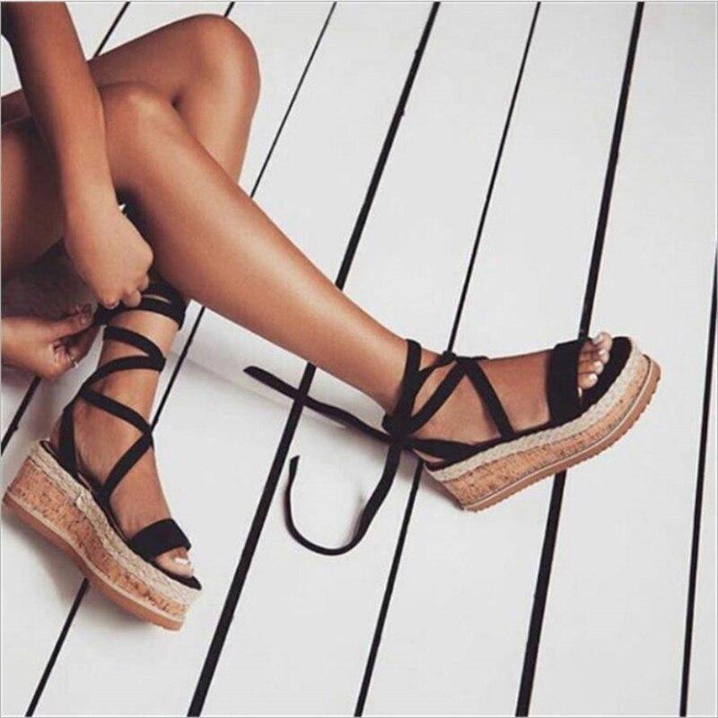 Summer 2019 Women Shoes White Wedge Espadrilles Women Sandals Open Toe Gladiator Sandals Casual Lace Up Women Platform Sandals
