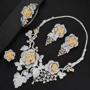 Image 2 - SisCathy Luxus Big Rose Blume Schmuck Sets Für Frauen Hochzeit Party Kleid Indische Braut Cubic Zirkon CZ Schmuck Sets 2019