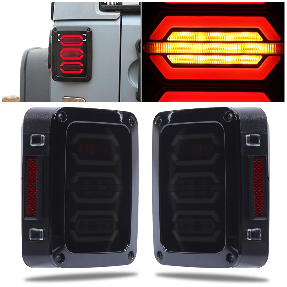 2Pcs Car Tail Light Lamp 4th Generation EU for Jeep Wrangler 07-17 LED Bar Brake Running Reverse Taillight Auto Accessories auxmart 22 led light bar 3 row 324w for jeep wrangler jk unlimited jku 07 17 straight 5d 400w led light bar mount brackets