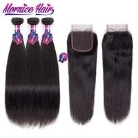 חלק בחינם סגירת תחרה שיער ברזילאי ישר Mornice אי רמי שיער Weave חבילות צבע טבעי שיער אדם חבילות עם סגירה