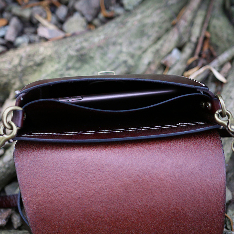 Echte Natürliche Leder Frauen Einzigen Schulter Tasche Schwarz/Braun Mini Weibliche Casual Geprägt Schmetterling Messenger Tasche - 6
