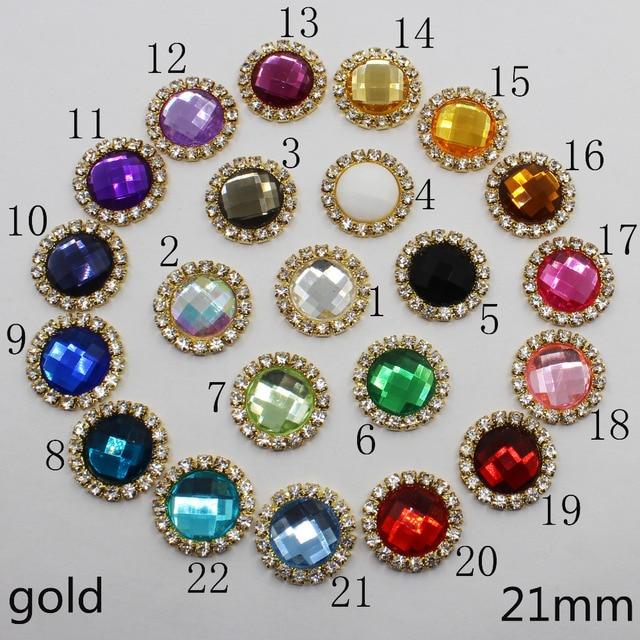 multi color 10pc 21mm acrylic gold round rhinestone button wedding