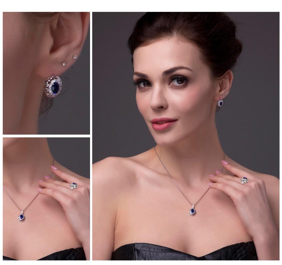 Jewelrypalace Oval 925 plata esterlina joyería conjunto azul creado anillo de zafiro pendiente marca Clip para las mujeres joyería fina - 5