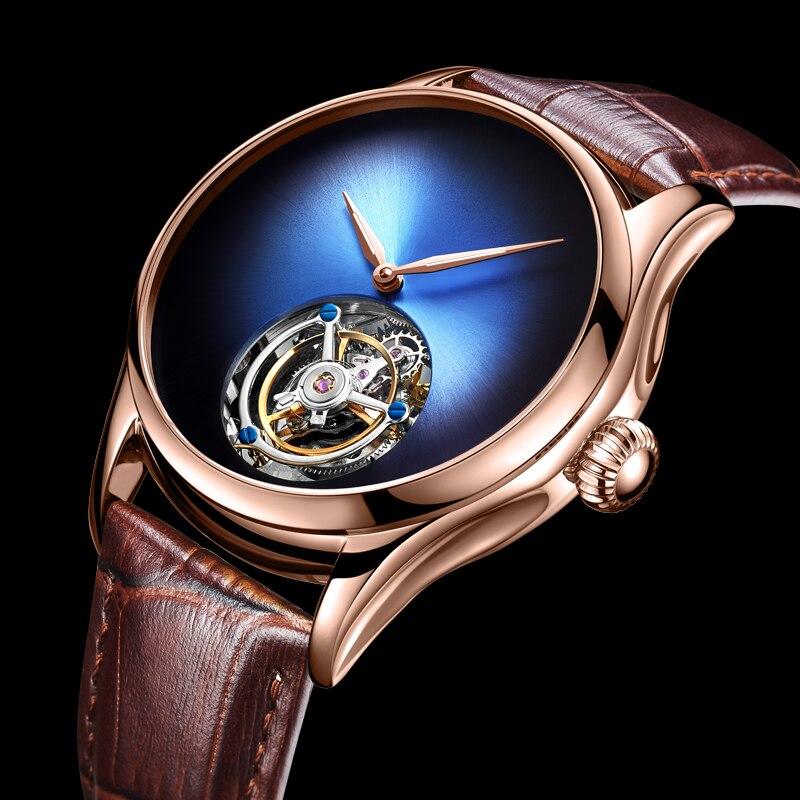 Top Marca de Luxo Mens Relógio Mecânico Espelho de Cristal De Safira Original Tourbillon Oco Movimento Mecânico Relógio dos homens 2018