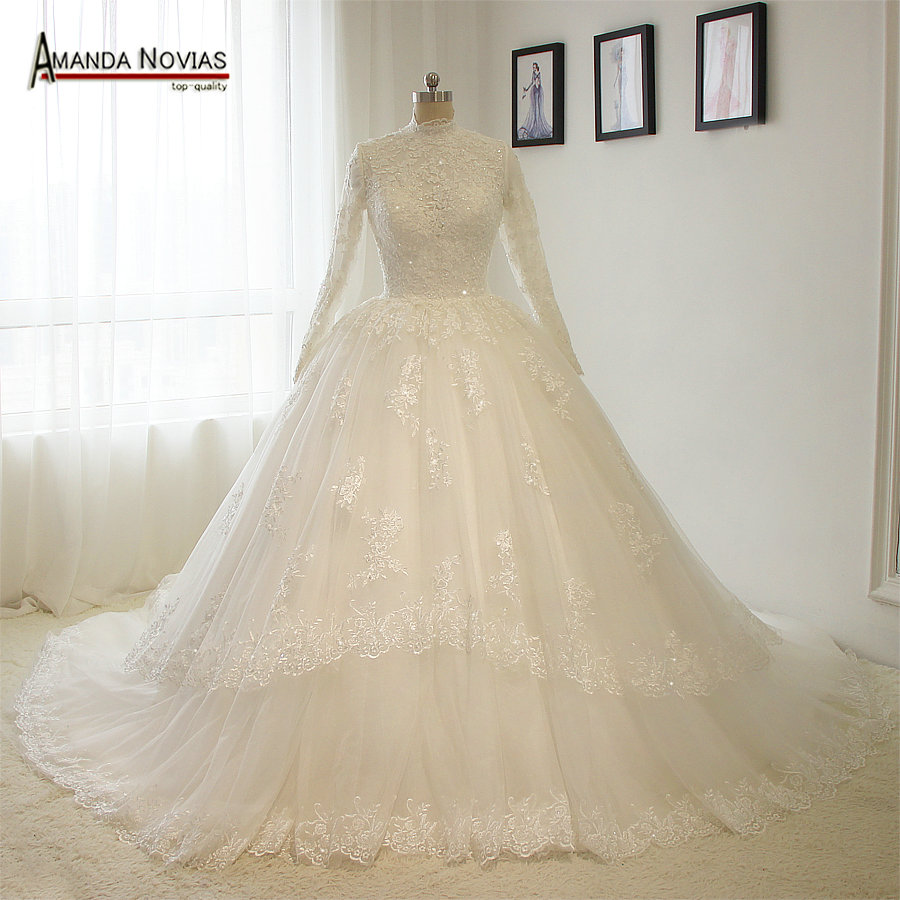 New Muslim Wedding Dress 2019 Vintage High Neckline Long Sleeves Puffy Ball Gown Bridal Dress