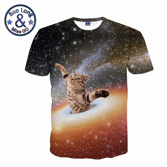 ff62397ed Mr.1991INC Galaxy Hula Hoop Cat Animal Tshirt Beautiful Bright Stars Space  Cloud Swirl Cat Printed Men 3d T-shirts Summer Tops