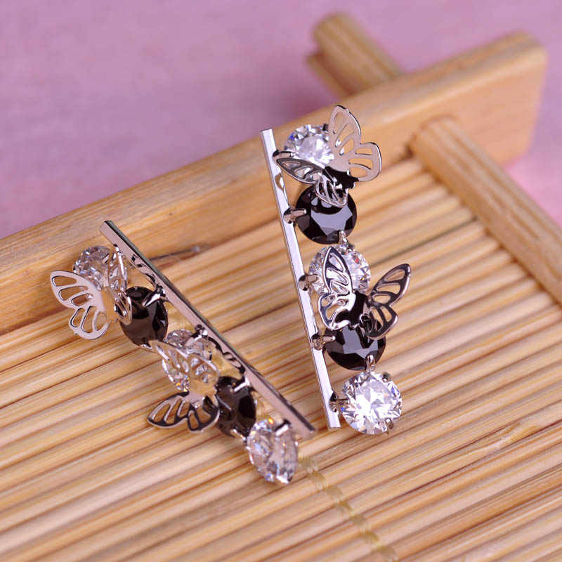 Blucome Clearance Fashion Butterfly Shape Earrings Shiny Zircon Copper Jewelry Women Girls Wedding Party Holiday Ear Accessories