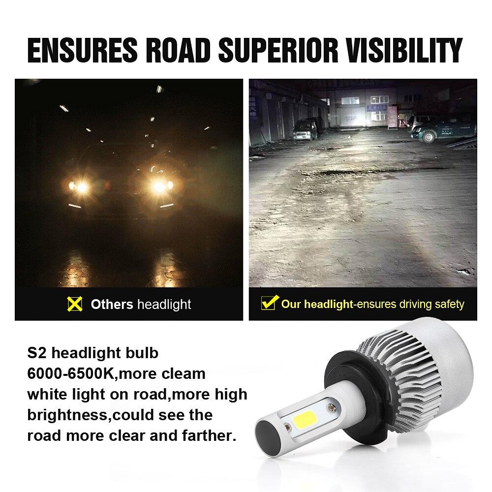 ASLENT 2pcs H7 LED S2 H4 H1 H11 H8 H9 H3 9005 9006 9007 880 Auto Car Accessories Headlight Bulbs 72W 8000LM Headlamp Bulb 6000K in Car Headlight Bulbs LED from Automobiles Motorcycles