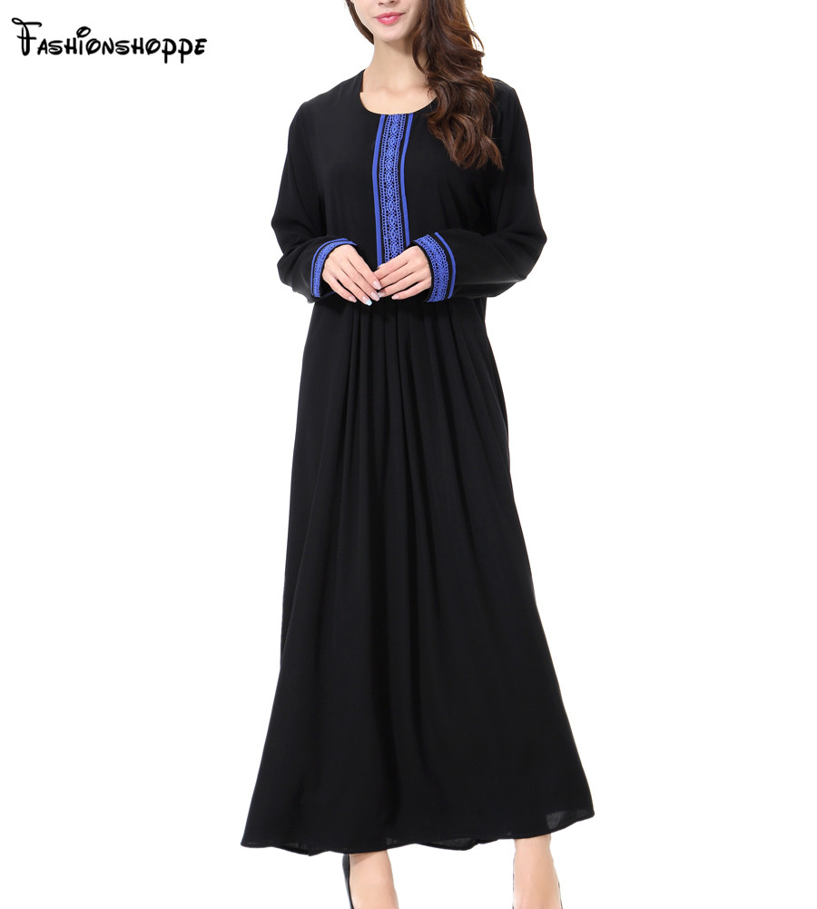 Free Shipping 2017 New Lady Embroided Thoub Abaya Muslim Dress Ramadan Clothing Turkish Islamic Dubai Long Dress D205