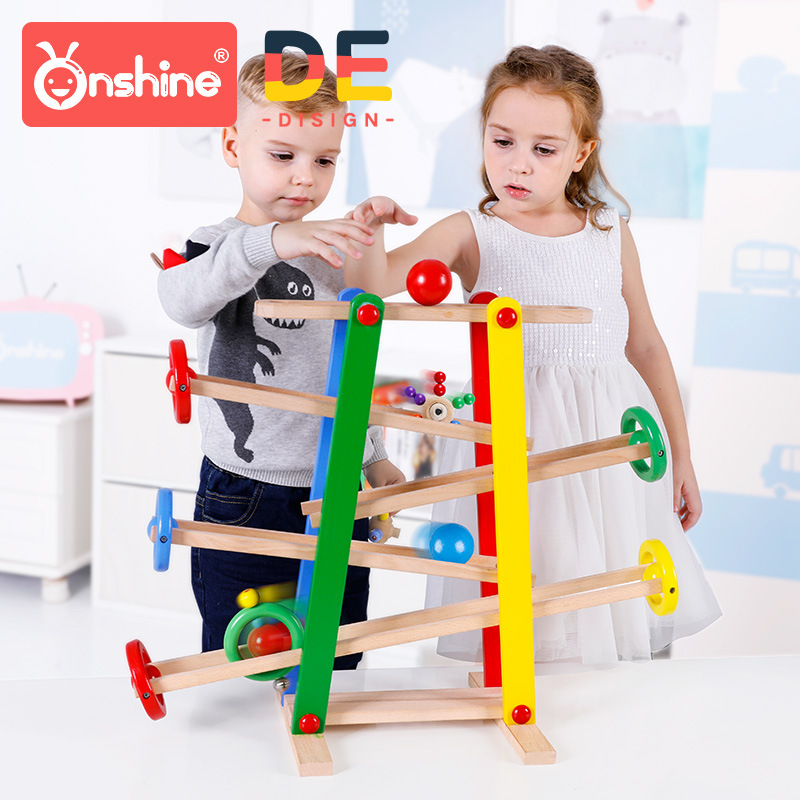 Onshine bébé curseur jeu en bois course balle hochet jeu de circuit hochet jouets course jouets Enfants apprentissage jouets éducatifs 12 M +