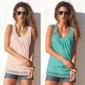 Mujeres Moda de Encaje calado costura multicolor ocio chaleco femenino y honda Superior Blusas LN017