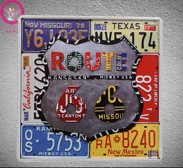 30x30cm Colourful Route 66 Vintage Home Decor Tin Sign For Wall Metal Art Poster Retro Plaque Plate In Plaques Signs From Garden