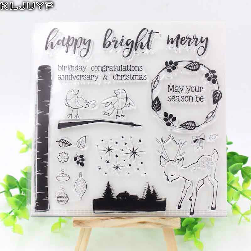 KLJUYP Christmas Deer Transparent Clear Silicone Stamp/Seal for DIY scrapbooking/photo album Decorative clear stamp sheets