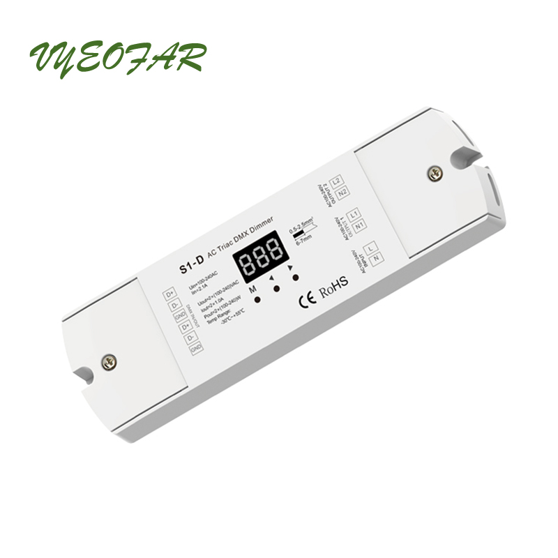 New AC Triac DMX Dimmer;Input voltage:AC 100-240V; voltage Output: 2 x 1.2A 100-240V AC 2 Channel S1-D DMX512 Triac DimmerNew AC Triac DMX Dimmer;Input voltage:AC 100-240V; voltage Output: 2 x 1.2A 100-240V AC 2 Channel S1-D DMX512 Triac Dimmer